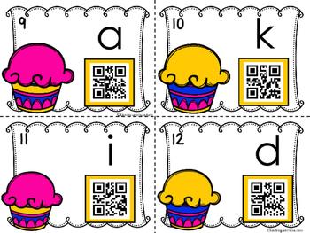 QR Code Alphabet Writing - Cupcake Theme FREE