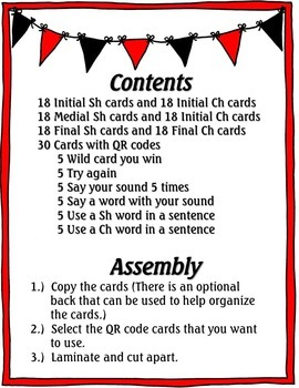 QR Code Articulation Game Sh and Ch sounds