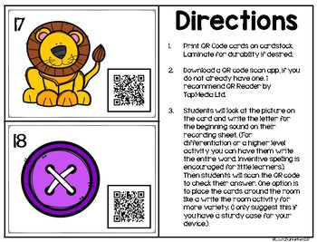 QR Code Beginning Sounds Activity