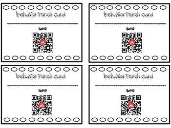 QR Code Behavior Punch Cards: Social Media Themed