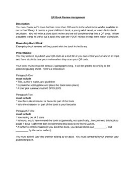 QR Code Book Review Assignment