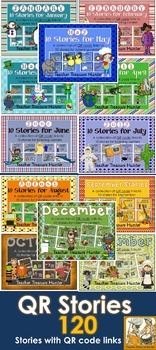 QR Code Bundle 12 MONTHLY THEMES  *K-2 Listening Centers