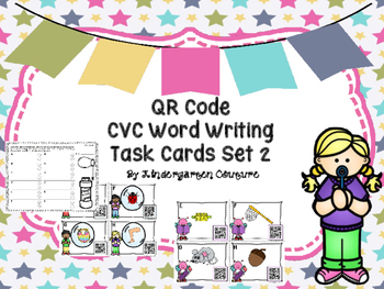 QR Code CVC Word Writing Task Cards  Set Two