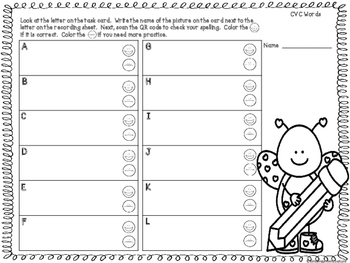 QR Code CVC Word Writing Task Cards  Set Two