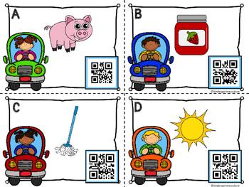 QR Code  CVC Word Writing Task Cards Set 1 -Transportation Theme