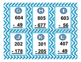 QR Code Cards & Worksheet: Subtracting Across Zero with 2 & 3 digit numbers