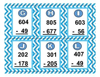 QR Code Cards & Worksheet: Subtracting Across Zero with 2 & 3 digit numbers
