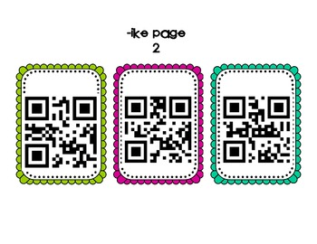 QR Code Center - Word Families ike/ine