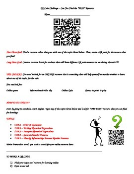 QR Code Challenge; A Unit Introduction 5.OA