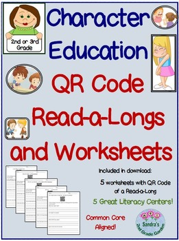 QR Code Character Education Read-a-Longs and Worksheets Grades 2 and 3