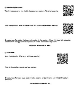QR Code Chemical Reactions