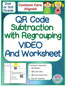 QR Code Common Core Subtraction Expanded Notation Worksheet