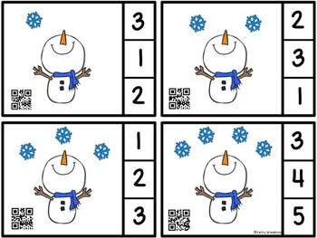 QR Code Count And Clip 1-10 Snowflakes -Dollar Deal