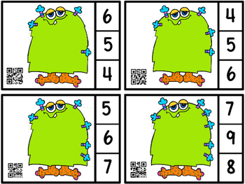 QR Code Count, Clip And Scan -Monsters