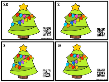 QR Code Count, Write, Scan 1-20 Christmas Lights