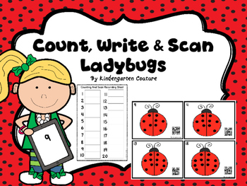 QR Code Count, Write, Scan 1-20 Ladybugs
