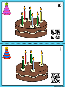 QR Code Count, Write, Scan Birthday Candles 1-10