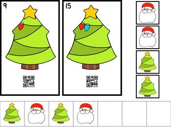 QR Code Count, Write, Scan Christmas Tree Lights 1-20