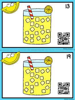 QR Code Count, Write, Scan (Lemonade Theme)