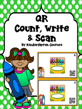 QR Code Count, Write, Scan Crayons 1-12