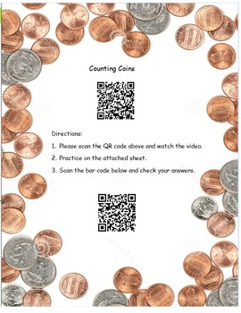 QR Code Counting Coins Video and Worksheet with Answer Key/ Math Center