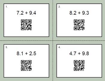QR Code Decimals Task Cards Bundle