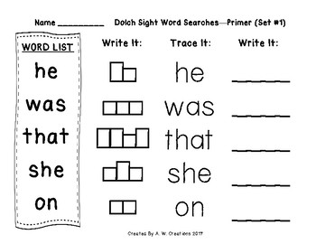 QR Code Dolch Sight Word Searches and Writing Practice Primer Set 1 FREEBIE