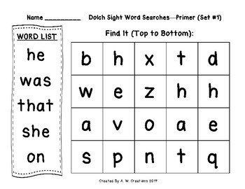 QR Code Dolch Sight Word Searches and Writing Practice Primer Sets 1-10