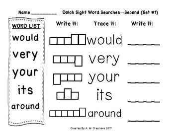 QR Code Dolch Sight Word Searches and Writing Practice Second Set 1 FREEBIE