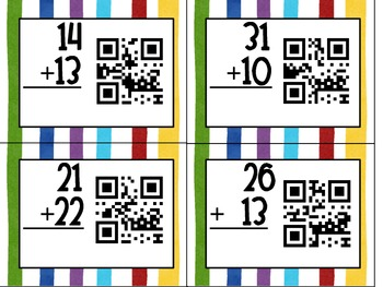 QR Code Double Digit Addition Without Regrouping