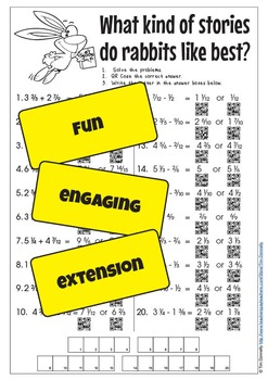 QR Code Easter Math Puzzle. Addition and Subtraction of Common Fractions. Gr 5-7
