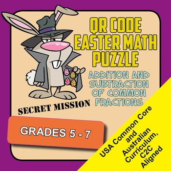 QR Code Easter Math Puzzle. Addition and Subtraction of Co