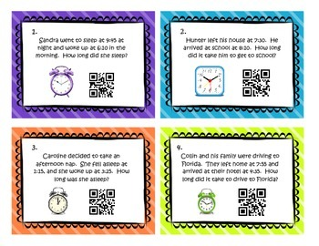QR Code Elapsed Time Task Cards 4.MD.2  3.MD.1