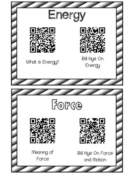 QR Code Energy Force and Motion Science Vocabulary Center