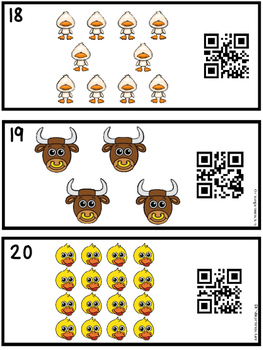 QR Code Farm Animals  Count, Write, Scan Task Cards 1-20