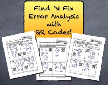 "QR Code ""Find 'N Fix"" Error Analysis Bundle - Students LOVE ""Grading"" Papers!"