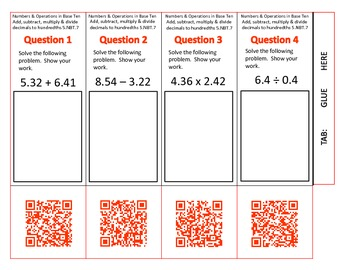QR Code Foldables-Grade 5 Numbers and Operations in Base Ten-Set 2