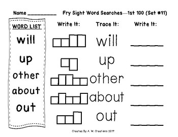 QR Code Fry Sight Word Searches and Writing Practice 1st 100 Sets 11-20