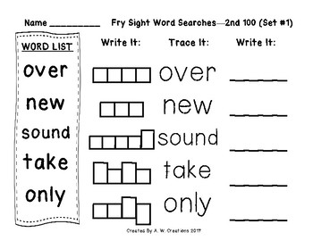 QR Code Fry Sight Word Searches and Writing Practice 2nd 100 Sets 1-10