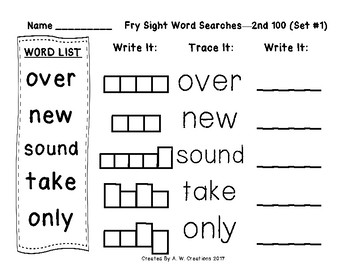 QR Code Fry Sight Word Searches and Writing Practice 2nd 100 Sets 1-5 FREEBIE