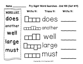 QR Code Fry Sight Word Searches and Writing Practice 2nd 100 Sets 11-20