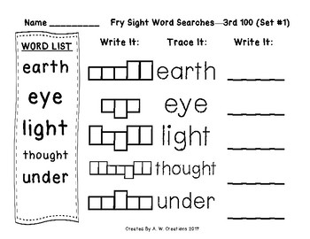 QR Code Fry Sight Word Searches and Writing Practice 3rd 100 Sets 1-10