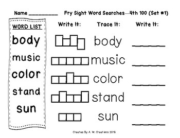 QR Code Fry Sight Word Searches and Writing Practice 4th 100 Sets 1-10
