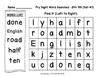 QR Code Fry Sight Word Searches and Writing Practice 5th 100 Sets 1-10