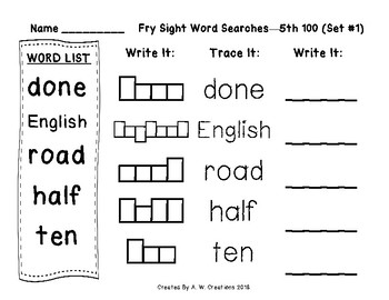 QR Code Fry Sight Word Searches and Writing Practice 5th 100 Sets 1-5 FREEBIE