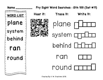 QR Code Fry Sight Word Searches and Writing Practice 5th 100 Sets 11-20