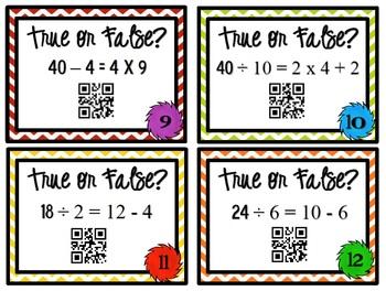 QR Code Fun - 3rd Grade True or False? Task Cards - 3.OA.4, 3.OA.5, 3.OA. 7