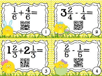 BUNDLE!!! QR Code Fun: Adding and Subtracting Fractions & Mixed Numbers