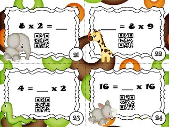 QR Code Fun: All Four Operations Zoo Missing Numbers Task Cards