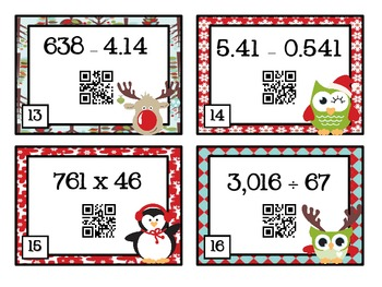 QR Code Fun: Christmas Math Task Cards - 5.NBT.5, 5.NBT.6, 5.NBT.7